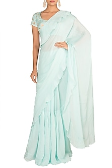 Sky Blue Embroidered Printed Saree Set by Paulmi & Harsh