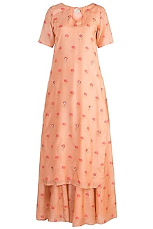 Peach Embroidered Printed Kurta Set by Paulmi & Harsh