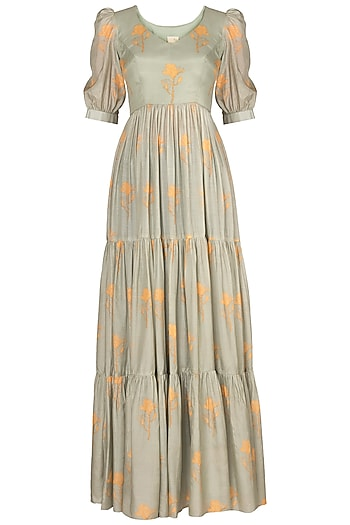 Mint Green Floral Printed Maxi Dress by Paulmi & Harsh