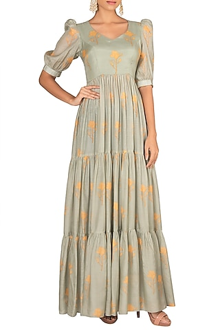 Mint Green Floral Printed Maxi Dress by Paulmi & Harsh