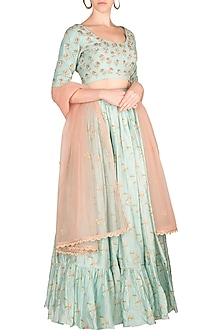 Sky Blue Embroidered Printed Lehenga Set by Paulmi & Harsh