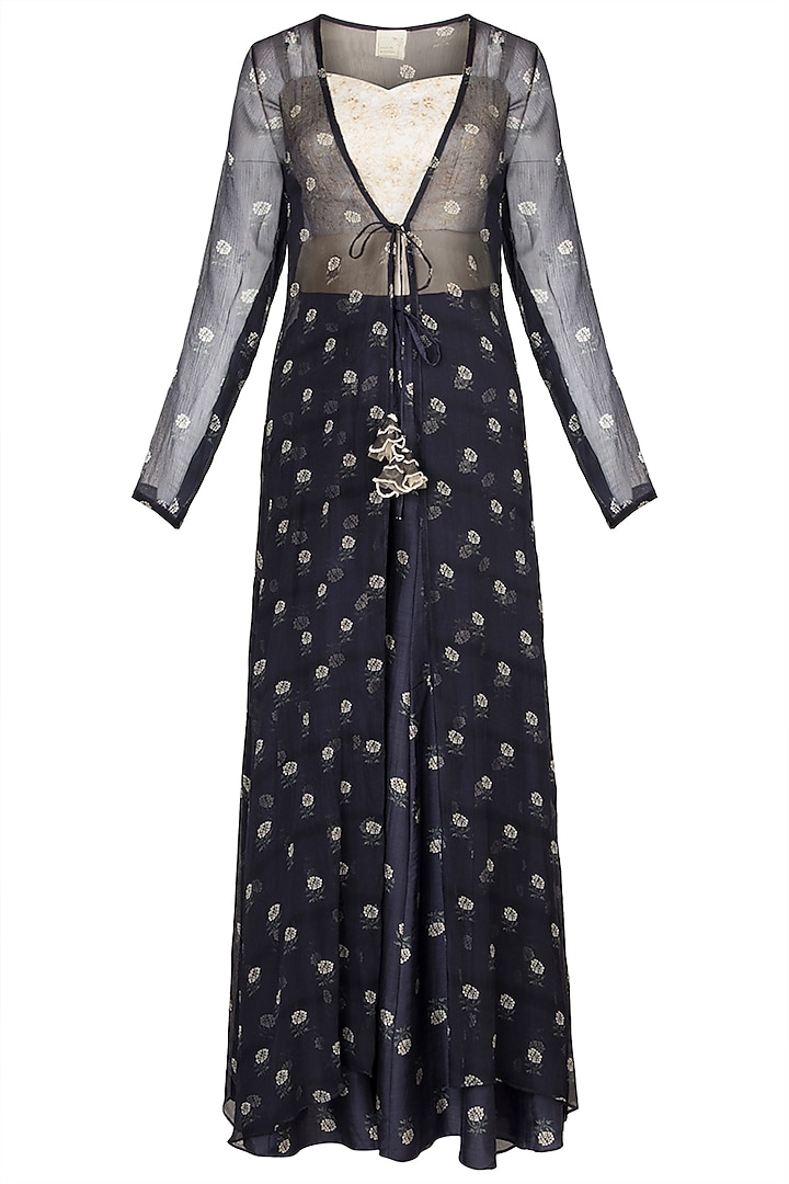 White Crop Top With Navy Blue Printed Palazzo Pants & Jacket by Paulmi & Harsh