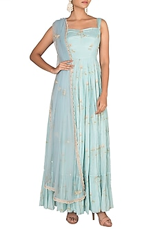 Sky Blue Embroidered Printed Anarkali With Dupatta by Paulmi & Harsh