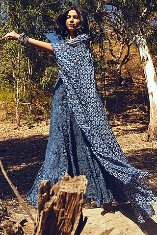 Indigo Blue Embroidered Jacket Set by Paulmi & Harsh