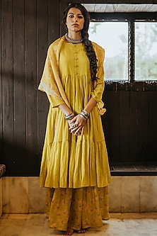 Mustard Layered Kurta Set by Paulmi & Harsh