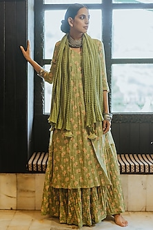 Mint Green Printed Kurta Set by Paulmi & Harsh