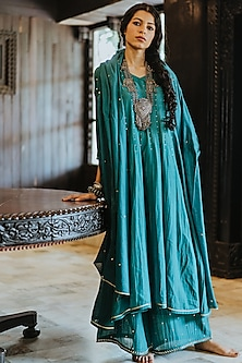 Turquoise Blue Printed Anarkali Set by Paulmi & Harsh