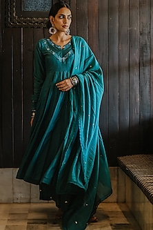 Teal Blue Embroidered Anarkali Set by Paulmi & Harsh