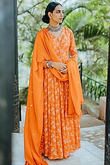 Orange Anarkali With Embroidered Dupatta by Paulmi & Harsh