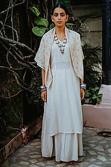 Off White Mul Cotton Kurta Set by Paulmi & Harsh