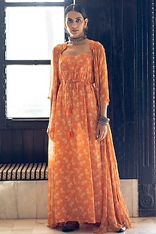Orange Printed Maxi Dress With Jacket by Paulmi & Harsh