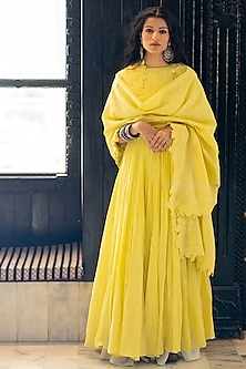 Lime Yellow Anarkali With Embroidered Dupatta by Paulmi & Harsh-SHOP BY STYLE