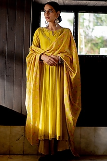 Mustard Embroidered Anarkali Set by Paulmi & Harsh