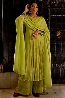 Lime Green Embroidered Anarkali Set by Paulmi & Harsh