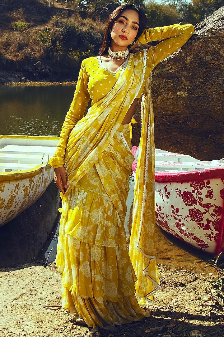 Yellow Printed & Embroidered Skirt Saree Set by Paulmi & Harsh