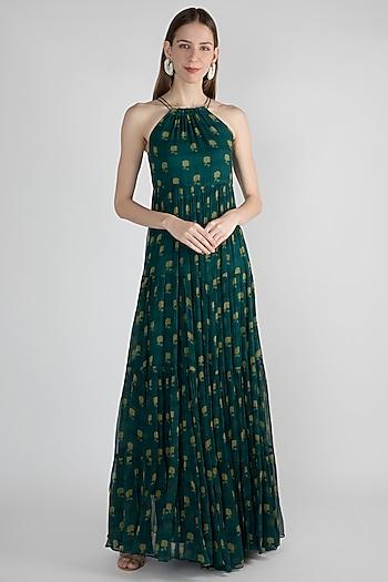 Teal Blue Printed Maxi Dress by Paulmi & Harsh