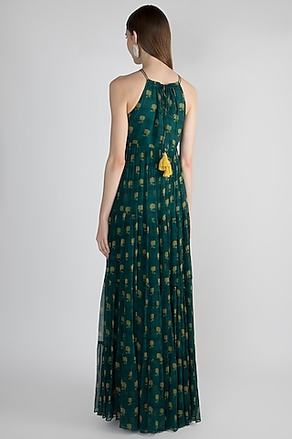 Teal Blue Printed Maxi Dress by Paulmi & Harsh