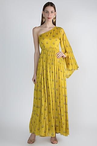Mustard Yellow Off Shoulder Maxi Dress by Paulmi & Harsh