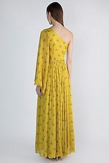 Mustard Yellow Off Shoulder Maxi Dress by Paulmi & Harsh