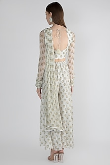 Off White Crop Top With Palazzo Pants by Paulmi & Harsh
