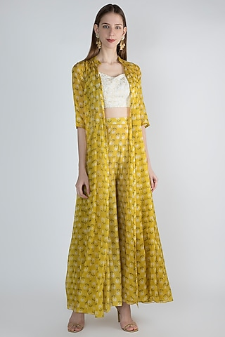 White Embroidered Crop Top With Mustard Jacket & Palazzo Pants by Paulmi & Harsh