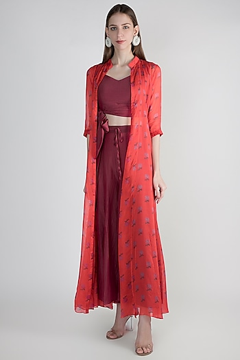 Magenta Red Crop Top With Jacket & Palazzo Pants by Paulmi & Harsh