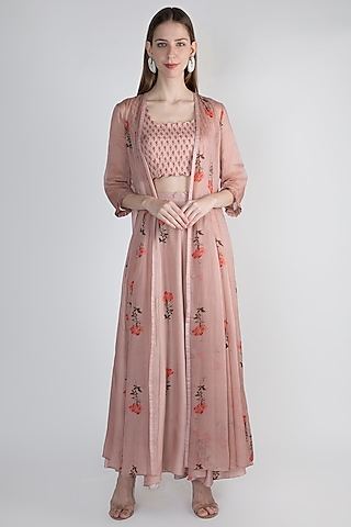 Onion Pink Embellished Crop Top With Jacket & Palazzo Pants by Paulmi & Harsh