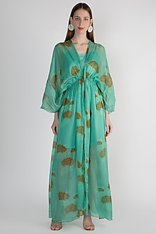Mint Green Slip Dress With Kimono Jacket by Paulmi & Harsh