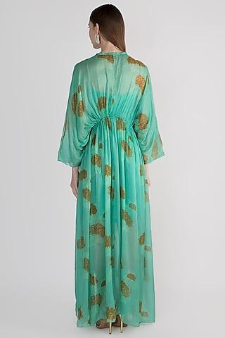 Mint Green Slip Dress With Kimono Jacket by Paulmi & Harsh