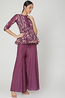 Jamuni Purple Printed Peplum Top With Pants by Paulmi & Harsh