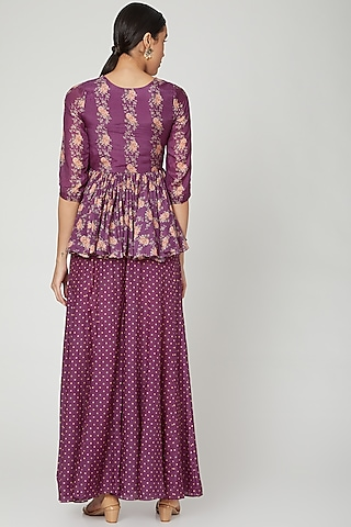 Jamuni Purple Printed Peplum Top With Pants by Paulmi & Harsh