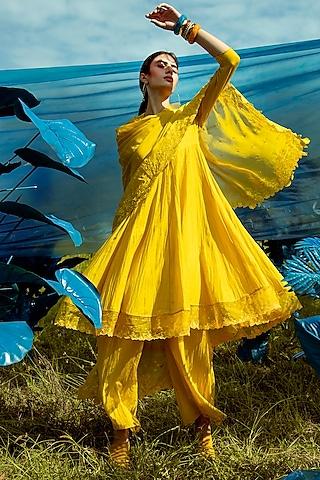 Sunlight Yellow Embroidered Anarkali Set by Paulmi & Harsh