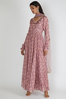 Mauve Embroidered Anarkali With Dupatta by Paulmi & Harsh