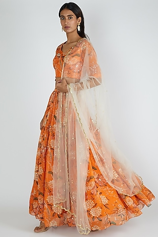 Orange Embroidered Lehenga Set by Paulmi & Harsh