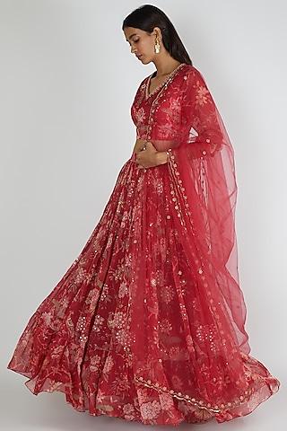 Fuchsia Pink Embroidered Lehenga Set by Paulmi & Harsh