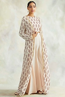 Ivory Pure Georgette Printed Cape Set by Palak & Mehak