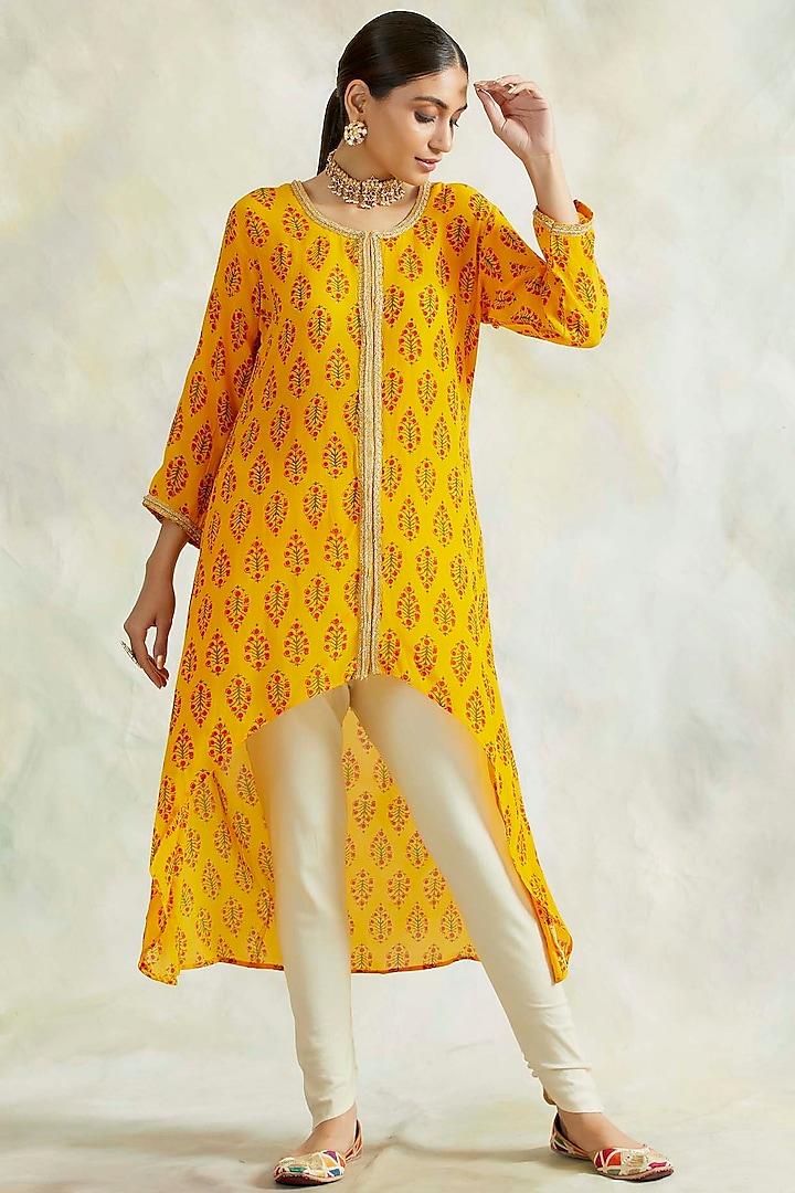 Sunshine Mustard Printed High-Low Kurta Set by Palak & Mehak