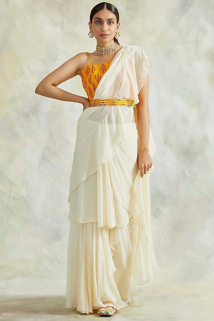 Ivory Pre-Stithced Draped Saree Set by Palak & Mehak