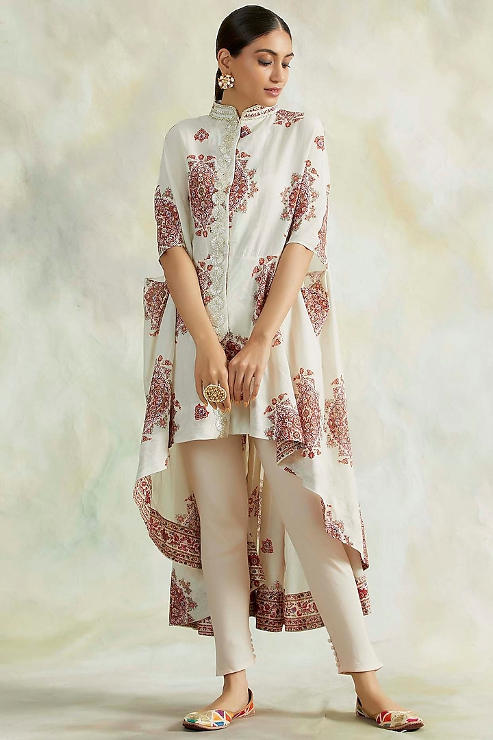 Ivory Hand Embroidered High-Low Kurta Set by Palak & Mehak