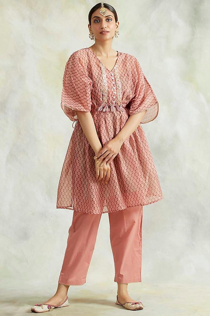 Pink Soft Cotton Mulmul Pant Set by Palak & Mehak