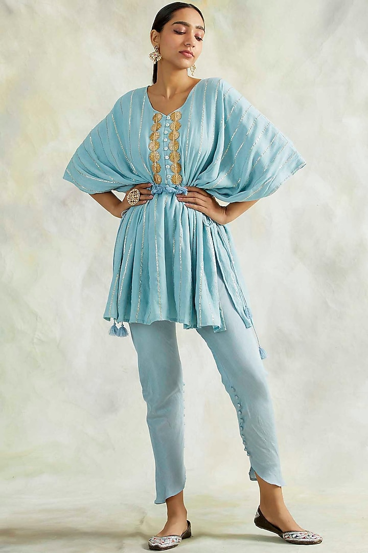 Powder Blue Soft Cotton Pant Set by Palak & Mehak