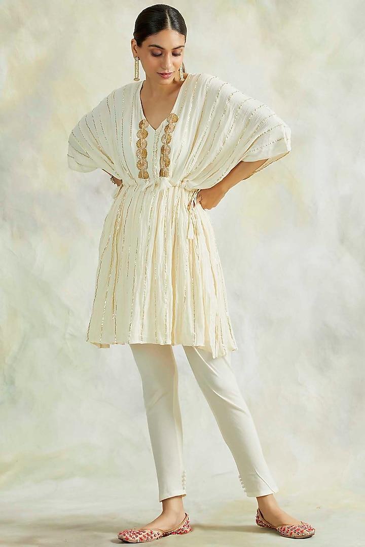 Cream Soft Cotton Pant Set by Palak & Mehak