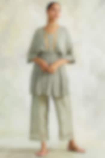 Grey Soft Cotton Pant Set by Palak & Mehak