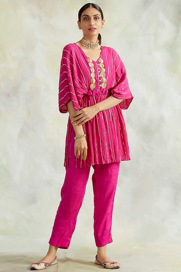 Hot Pink Soft Cotton Pant Set by Palak & Mehak