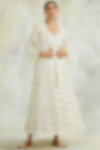 Cream Hand Embroidered Cape With Dress by Palak & Mehak
