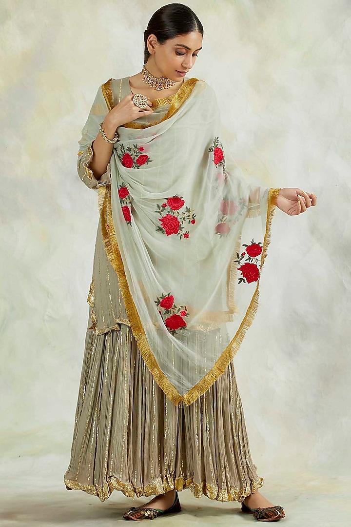 Grey Soft Rayon Crepe Kurta Set by Palak & Mehak