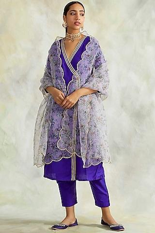 Cobalt Blue Kurta Set With Embroidered Dupatta by Palak & Mehak
