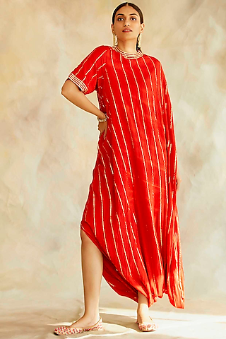 Red Embroidered Cowl Dress by Palak & Mehak