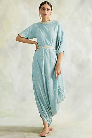 Powder Blue Embroidered Cowl Dress by Palak & Mehak