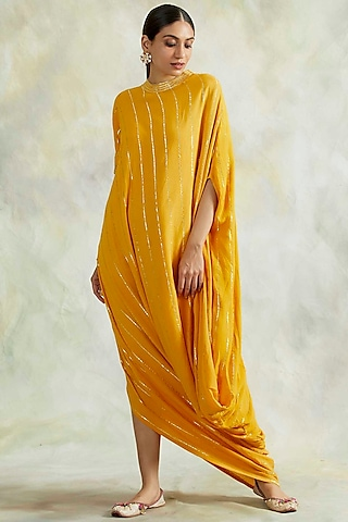 Mustard Embroidered Cowl Dress by Palak & Mehak